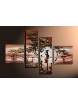 Afrika dreams 1 - 4 delig canvas 100x70cm Handgeschilderd