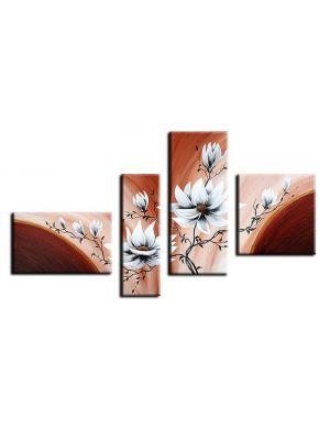 Bloemen M8 - 4 delig canvas 140x80cm Handgeschilderd