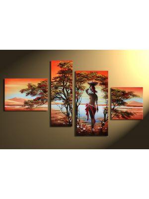 Afrikaanse dromen 1 - 4 delig canvas 120x70cm Handgeschilderd