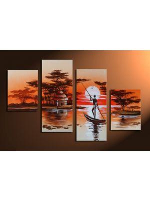 Afrikaanse dromen 3 - 4 delig canvas 120x80cm Handgeschilderd
