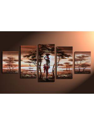Afrikaanse dromen 1 - 5 delig canvas 150x70 handgeschilderd
