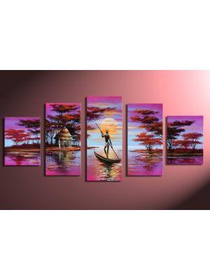 Afrikaanse dromen 3 - 5 delig canvas 150x70cm Handgeschilderd