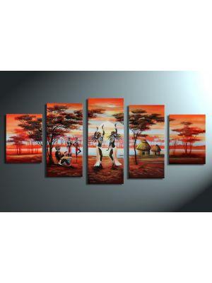 Afrikaans leven 2 - 5 delig canvas 150x70cm Handgeschilderd