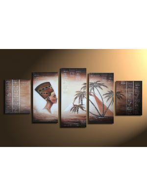 Egyptische pyramide 2 - 5 delig canvas 150x70cm handgeschilderd