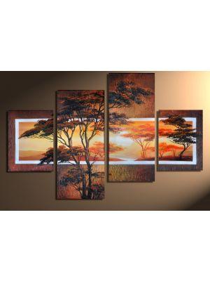 Afrikaanse savanne 1 - 4 delig canvas 120x80cm Handgeschilderd