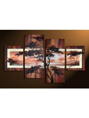 Afrikaanse savanne 3 - 4 delig canvas 120x80cm Handgeschilderd