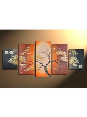 Magnolia 5 - 5 delig canvas 150x70cm Handgeschilderd