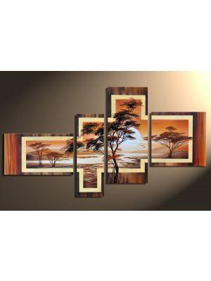 Afrikaanse savanne 1 - 4 delig canvas 140x80cm Handgeschilderd