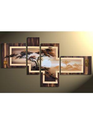 Afrikaanse savanne 5 - 4 delig canvas 140x80cm Handgeschilderd