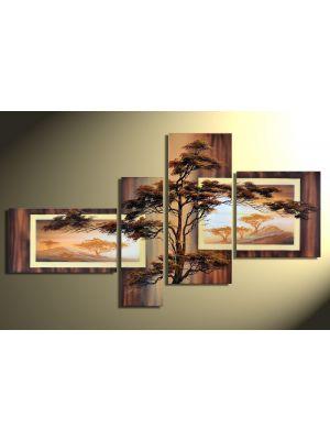 Afrikaanse savanne 2 - 4 delig canvas 140x80cm Handgeschilderd