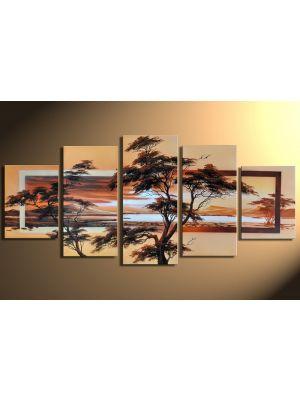 Landschappen 1 - 5 delig canvas 150x70cm Handgeschilderd