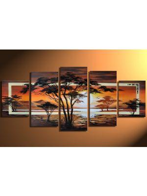 Landschappen 2 - 5 delig canvas 150x70cm Handgeschilderd