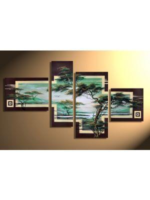 Afrikaanse savanne 7 - 4 delig canvas 120x70cm Handgeschilderd