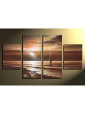 Zonsondergang 2 - 4 delig canvas 120x70cm Handgeschilderd schilderij