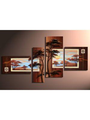 Afrikaanse savanne 3 - 4 delig canvas 140x80cm Handgeschilderd