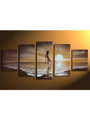 Vrouw in gewaad 1 - 5 delig canvas 150x70cm Handgeschilderd