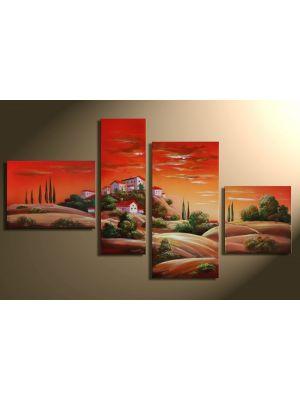 Toskaans landschap 2 - 4 delig canvas 120x70cm Handgeschilderd