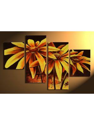 Bloemen 1 - 4 delig canvas 120x80cm Handgeschilderd