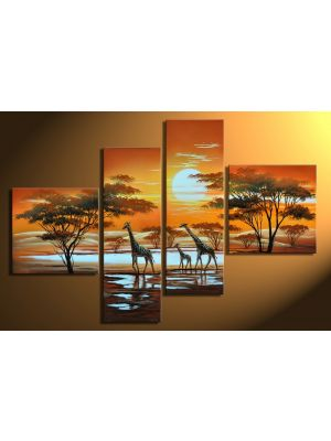 Afrika giraffe 3 - 4 delig canvas 100x70cm Handgeschilderd