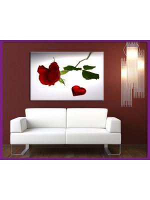 Canvas print Roos met hart