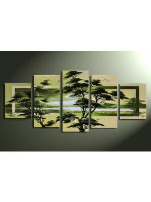 Landschappen 5 - 5 delig canvas 150x70cm Handgeschilderd