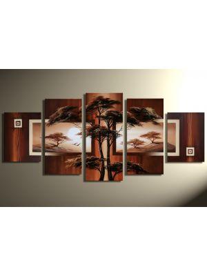 Landschappen 6 - 5 delig canvas 150x70cm Handgeschilderd