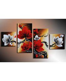 Magnolia 5 - 4 delig canvas 80x50cm Handgeschilderd