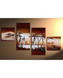Afrika 1 - 4 delig canvas 80x50cm Handgeschilderd