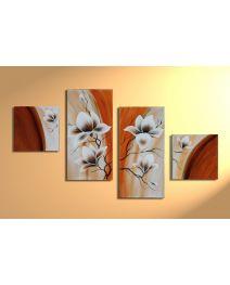 Magnolia 2 - 4 delig canvas 80x50cm Handgeschilderd