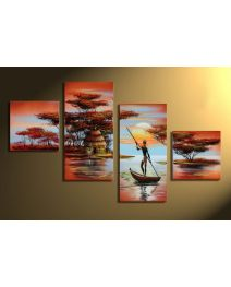 Afrika dreams 2 - 4 delig canvas 80x50cm Handgeschilderd