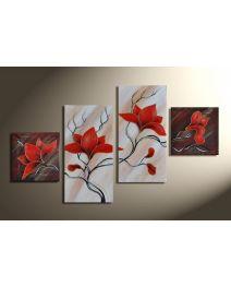 Magnolia 4 - 4 delig canvas 80x50cm Handgeschilderd