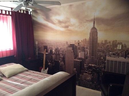 Erg mooi New York fotobehang in de slaapkamer